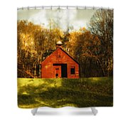 Autumn Day On School House Hill Shower Curtain by Denise Beverly