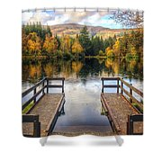Autumn In Glencoe Lochan Shower Curtain by Dave Bowman