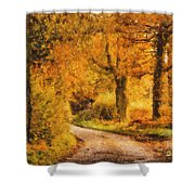 Autumn trees Shower Curtain by Pixel Chimp