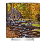 Autumn Wooden Fence Shower Curtain by Joann Vitali