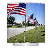 Avenue Of The Flags Shower Curtain by Cricket Hackmann