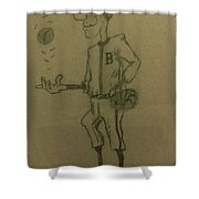 B Is For Baseball Shower Curtain by Christy Saunders Church