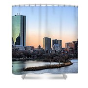 Back Bay Sunrise Shower Curtain by JC Findley
