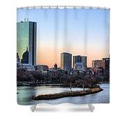 Back Bay Sunrise Shower Curtain by JC Findley