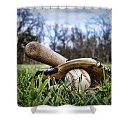 Backyard Baseball Memories Shower Curtain by Cricket Hackmann