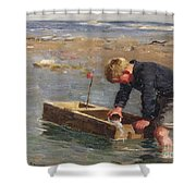 Bailing Out The Boat Shower Curtain by William Marshall Brown