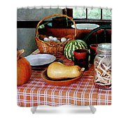Baking A Squash And Pumpkin Pie Shower Curtain by Susan Savad