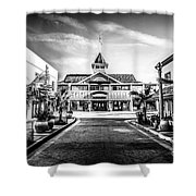 Balboa Pavilion Newport Beach Black And White Picture Shower Curtain by Paul Velgos