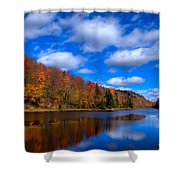Bald Mountain Pond in Autumn Shower Curtain by David Patterson