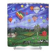 Balloon Race One Shower Curtain by Linda Mears