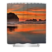 Bandon Orange Pastels Shower Curtain by Adam Jewell