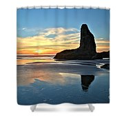 Bandon Oregon Sunset Shower Curtain by Adam Jewell