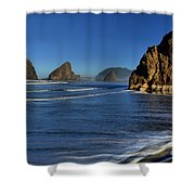Bandon Sea Stacks In The Surf Shower Curtain by Adam Jewell