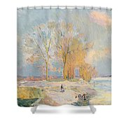 Banks Of The Seine And Vernon In Winter Shower Curtain by Albert Charles Lebourg