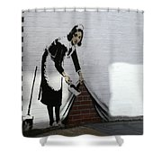 Banksy Maid Shower Curtain by A Rey