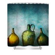 Bar - Bottles - Green Bottles Shower Curtain by Mike Savad