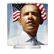 Barack Obama Artwork 1 Shower Curtain by Sheraz A
