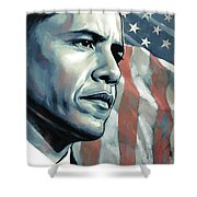 Barack Obama Artwork 2 B Shower Curtain by Sheraz A