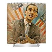 Barack Obama Taking It Easy Shower Curtain by Miki De Goodaboom