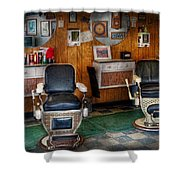 Barber - Frenchtown Nj - Two Old Barber Chairs  Shower Curtain by Mike Savad
