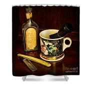 Barber - Shaving Mug And Toilet Water Shower Curtain by Paul Ward