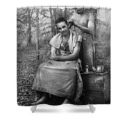 Barber - Wwii - Gi Haircut Shower Curtain by Mike Savad