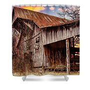 Barn At Sunset Shower Curtain by Brett Engle