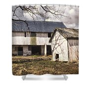 Barn Near Utica Mills Covered Bridge Shower Curtain by Joan Carroll