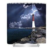 Barnegat Inlet Lighthouse Nj Shower Curtain by Skip Willits