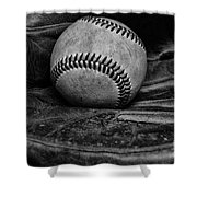 Baseball broken in black and white Shower Curtain by Paul Ward