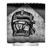 Baseball Catchers Mask Vintage in black and white Shower Curtain by Paul Ward