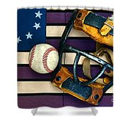 Baseball Catchers Mask Vintage On American Flag Shower Curtain by Paul Ward