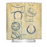 Baseball Construction Patent 2 - Vintage Shower Curtain by Nikki Marie Smith