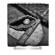 Baseball Home Plate In Black And White Shower Curtain by Paul Ward
