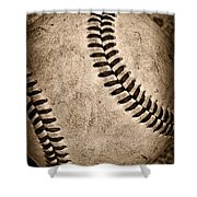 Baseball Old And Worn Shower Curtain by Paul Ward