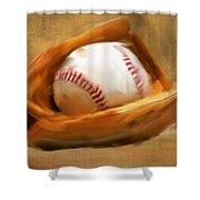 Baseball V Shower Curtain by Lourry Legarde