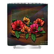 Basket Of Hibiscus Flowers Shower Curtain by Bedros Awak