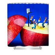 Basketball Games On The Apple Little People On Food Shower Curtain by Paul Ge