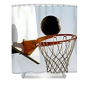 Basketball Hoop And Ball Shower Curtain by Lanjee Chee