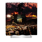 Basketball On A Carrier Shower Curtain by Mountain Dreams