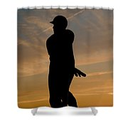 Batter At Dawn - Phillies Shower Curtain by Bill Cannon
