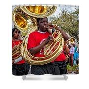 Battered Tuba Blues Shower Curtain by Steve Harrington