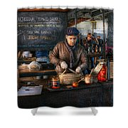 Bazaar - We sell tomato sauce  Shower Curtain by Mike Savad