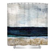Beach- Abstract Painting Shower Curtain by Linda Woods
