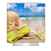 Beach Bag With Sun Hat Shower Curtain by Amanda And Christopher Elwell
