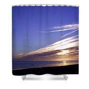 Beach Blue Sunset Shower Curtain by Barbara St Jean