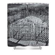 Beach Fence BW Shower Curtain by Susan Candelario