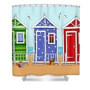 Beach Huts Shower Curtain by Peter Adderley