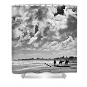 Beach Riders Shower Curtain by Dave Bowman