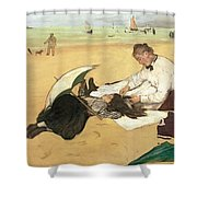 Beach Scene Little Girl Having Her Hair Combed By Her Nanny Shower Curtain by Edgar Degas